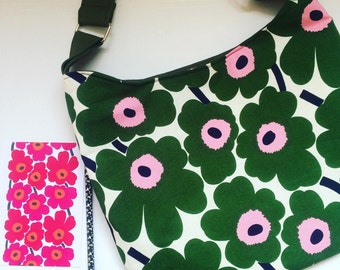 Womens Green Floral Messenger Bag made from Marimekko Fabric, cross body bag, shoulder bag , many colours