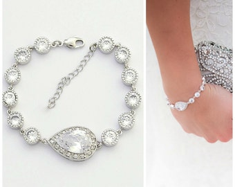 Bridal Bracelet Wedding Jewelry Clear Cubic Zirconia Teardrop Bracelet Crystal Wedding Bracelet, Emma