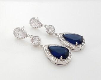 Blue Wedding Earrings Bridal Jewelry Blue drop Earrings Sapphire Blue Cubic Zirconia Something Blue Jewelry Blue Crystal Earrings, Aoi