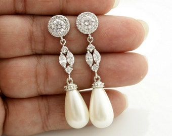 Bridal Pearl Earrings Bridal Jewelry Cubic Zirconia Pearl Wedding Jewelry Pearl Teardrops Crystal Wedding Earrings, Hayley Earrings