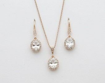 Rose Gold Jewelry Set Bridal Jewelry Bridesmaid Gift Set Small Oval Crystal Drop Cubic Zirconia Earring and Necklace Set Wedding Jewelry