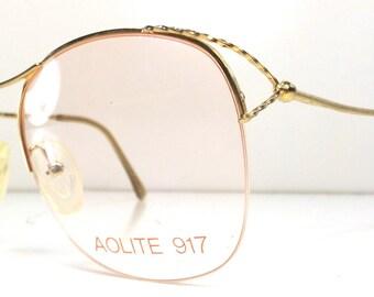 vintage 80s deadstock half rim gold frames oversized big eyeglasses round metal eyewear bug eye glasses women colored lens new old stock A66