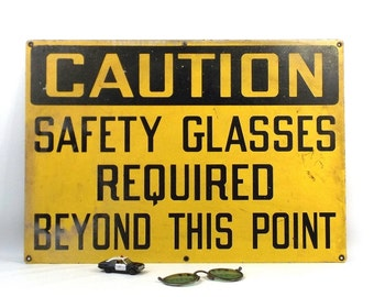 vintage 70s metal caution sign yellow black safety glasses required industrial rectangular wall hanging urban home decor decorative man cave