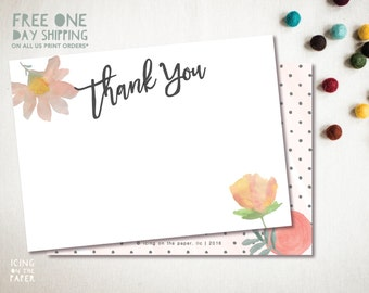 Watercolor flowers and dots thank you instant download