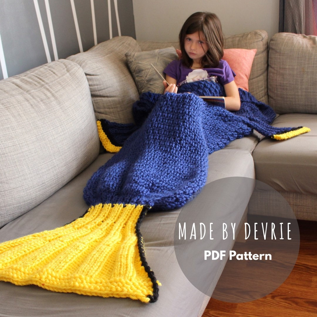 Knitting Pattern Fishtail Blanket : DIGITAL Download Dory Blanket Dory Blanket Pattern KNITTING