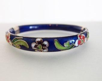 Beautiful Vintage Cloisonne Enamel Hinged Bracelet