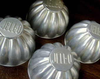 JELLO Vintage Molds Aluminum Jello molds Set of Four molds