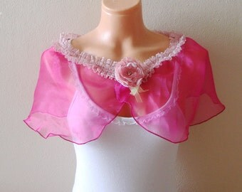 Fuchsia Capelet Bridal Shawl Wrap Romantic Soft Lightweight Scarf with flower brooch