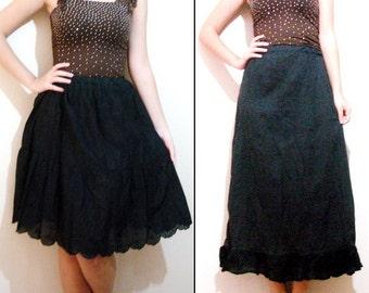Black Layered Skirt, Ruffle skirt extender, refashioned clothing ruffle extender underwear skirt