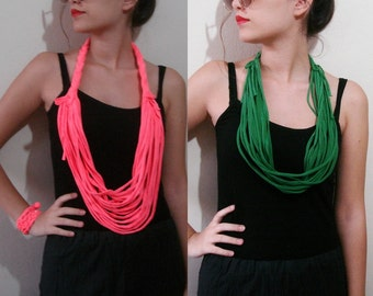 Jersey Scarf Necklace Circle Scarf Fabric Necklace Womens Accessories Noddle Scarf Braided tshirt necklace
