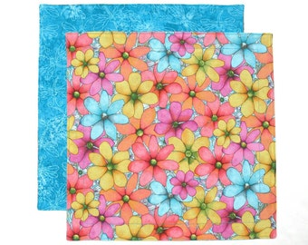 Kids Cloth Napkin, Lunchbox Napkin for Kids, Lunch Napkin, Reusable Fabric Napkin, Flowers and Dragonflies, 1 double sided napkin