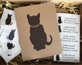 Personalized Cat Card Set - Boxed Card Set - Blank Inside - 12 Cards, 12 Envelopes, 15 Return Address Labels,  12 Envelope Seals, 1 Bookmark