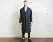 Men TRENCH Coat . Vintage Navy Blue Detective 80s Rain Coat Film Noir Topcoat Vintage 1980s Long Duster Jacket Outerwear . sz Extra Large XL