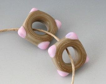 Southwest Square Pair - (2) Handmade Lampwork Beads -  Pink, Khaki - Etched, Matte