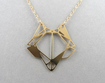 fox necklace, geometric fox, geometric jewelry, fox jewelry, geometric necklace, fox pendant, geometric animal