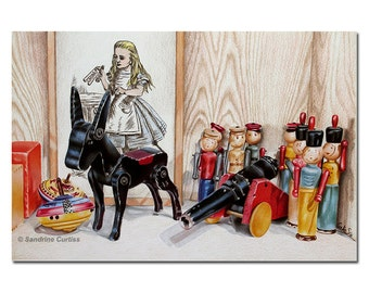 """TOYS donkey wooden soldiers tops Alice in Wonderland vintage colored pencils painting Sandrine Curtiss ORIGINAL Art 8x12"""""""