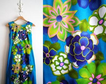 Vintage Hawaiian Tahitian Barkcloth Maxi Dress 100% Cotton, SALE