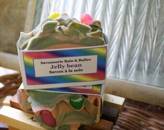 Savon à la soie Jelly bean, handmade, fait main, silk soap
