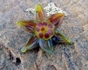 Handmade Boro Glass Flower Pendant