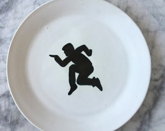 Jumping plate, ceramic painting serving platter black and white majolica glazed pottery silhouette