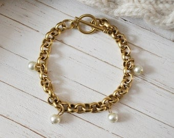 Women's Preppy Gold Chain Link Bracelet - Glass Pearls