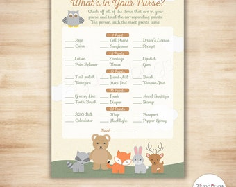 Woodland Baby Shower What's in Your Purse Game - PRINTABLE INSTANT DOWNLOAD - Gender Neutral Baby Shower Game Woodland