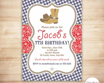 Cowboy Birthday Invitation - Cowboy Birthday Party Invite - Red, Blue, Paisley Boy Birthday - PERSONALIZED, PRINTABLE