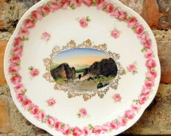 Antique Wheelock Souvenir Plate Vintage  Gateway Garden of the Gods Colorado Springs 1920s Era Pikes Peak Pink Roses