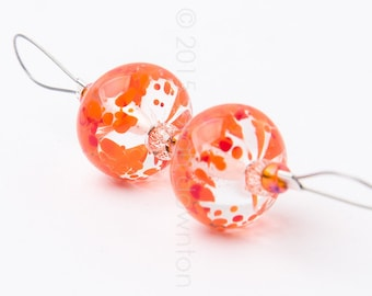 Orange Fizz Pair - Handmade Lampwork Glass Beads by Sarah Downton