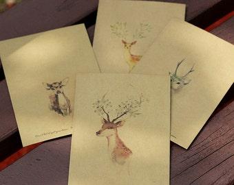 Retro Vintage Deer Envelopes Set