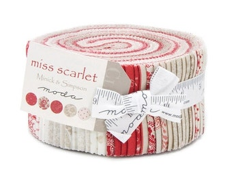 25 Off Sale Miss Scarlet JELLY ROLL Moda shabby quilt fabric 2.5 inch strips 100% cotton Minick Simpson Americana patriotic red white po
