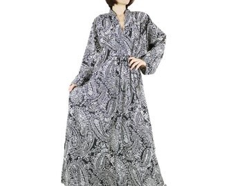 Long Sleeve Oversize V Neck Boho Chic Elegant Black Paisley Printed Light Cotton Maxi Dress Kaftan Women Sun Dress SM706- Fit size 10 To 20
