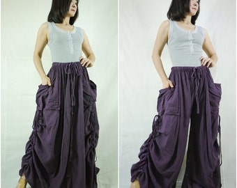 Love Me..Love Me Not III - Steampunk Dark Plum Cotton Convertible Skirt Or Pants Or Tubedress With 2 Roomy Pockets