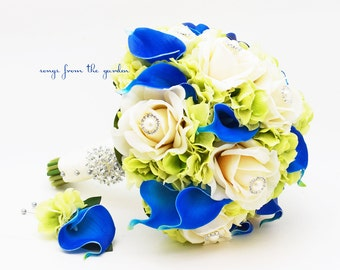 Royal Blue and Green Wedding Bridal Bouquet Groom's Boutonniere Ivory Real Touch Roses Royal Blue Calla Lily Pearl Rhinestone Accents