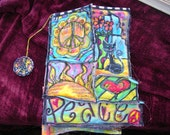 Boho Quilted Hippie Art Journal Coloring Book, OOAK