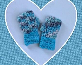 Boy or Girl Gloves, Blue Toddler Fingerless Gloves, Children Gloves,  Crochet Gloves