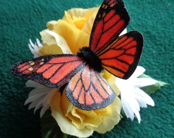 Handmade Monarch butterfly  and floral hairclip