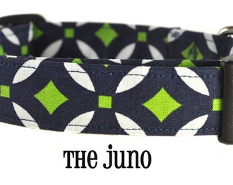 Navy and Green Dog Collar - The Juno