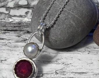 Garnet & Pearl handmade vintage inspired pendant