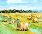 Reserved for Lisa Custom original oil painting by Karen Tarlton -  Hay bale green pastures and sky - final payment