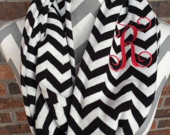 Chevron Infinity Knit Scraf including three letter monogram, initial, or name