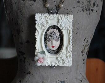 Mori girl frozen charlotte mixed media assemblage wearable art pendant necklace