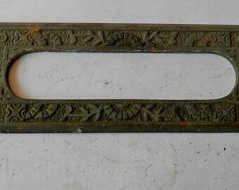 1 inside antique mail slot trim cast brass windsor pattern vintage