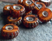 Picasso Orange Czech Glass Beads, Table Cut Wheel Beads, Large Daisy Beads, 12mm , Opaque Grey &  Picasso (10pcs) NEW