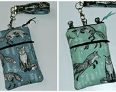 Made to Order Twill Aqua or Slate Blue Black Fox Fish Linen Phone Case Wristlet Shoulder Strap iPhone 4 5  6 Plus Samsung Note Penguins
