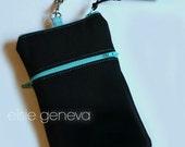 Black Phone Case Wristlet  Optional Shoulder Strap Zipper  iPhone 6 Plus Otter Box Personalized Option