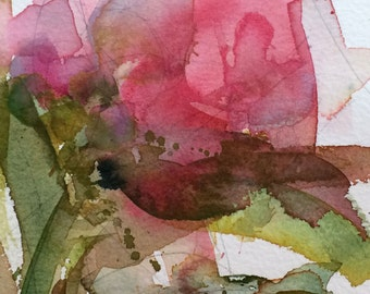 Pink Peony no. 16 Original Floral Watercolor Painting by Angela Moulton 5 x 7 inch with 8 x 10 inch white mat