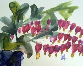 Bleeding Hearts no. 20 Original Floral Watercolor Painting by Angela Moulton 8 x 10 inch on Aquabord
