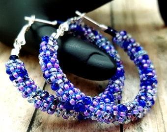 Blue Purple Earrings, Hippie Hoop Earrings, Beaded Hoop Earrings, Seed Bead Hoops, Summer Earrings, Her Birthday Gifts, February Birthdays
