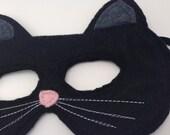 Children's Black Felt Cat Mask - Handmade, Kid's, Child's, Dress Up, Costume, Halloween, Kitty